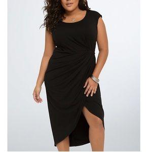 Torrid Black Shirred Tulip Midi Dress